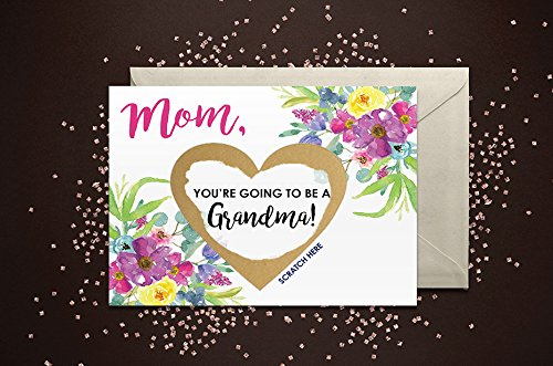 Scratch Off Mom, You're going to be a Grandma Card with Metallic Envelope....