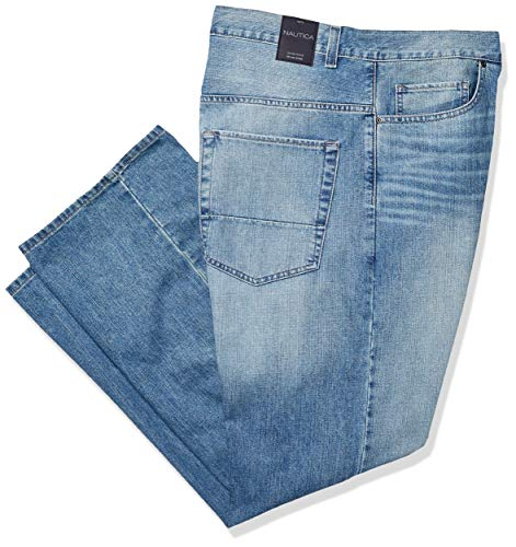 Nautica Men's Big and Tall 5 Pocket Relaxed Fit Stretch Jean, Hook Line Blue, 44W 34L