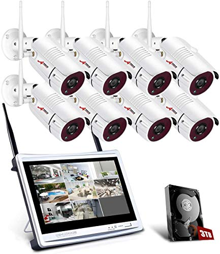 Tout-en-Un Système de Caméra Surveillance avec 12 Pouce LCD Moniteur, kit de Vidéo Caméra de Sécurité sans Fil, 8CH 1080p WiFi DVR avec 8pcs 2 MP CCTV IP WiFi Caméras, 3TB Disque Dur, APP Gratuite