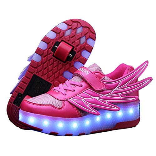 WFSH Zapatos de Rodillos para niñas niños niños Dual Rueda LED LED Parpadeante Skate Sneaker Zapatos (Color : A, Size : 31)