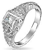 Bling Jewelry 1Ct Decó Moldura Cuadrada Bisel Solitario Ronda AAA CZ Milgrain Anillo De Compromiso para Mujer 925 Plata De Ley 925
