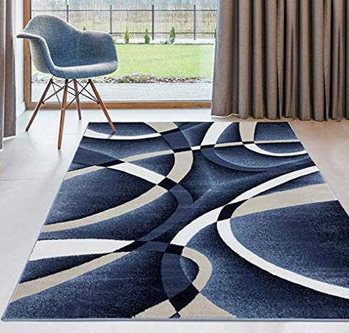 Tan and blue area rug for living room