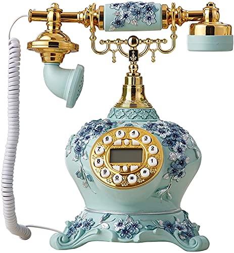 NEHARO Teléfono Fijo Retro Teléfono Creativo Retro teléfono Fijo Teléfono Rotación Pulsador Pulsador Retro Decoración Teléfono para Office Hotel (Color : Blue, Tamaño : One Size)