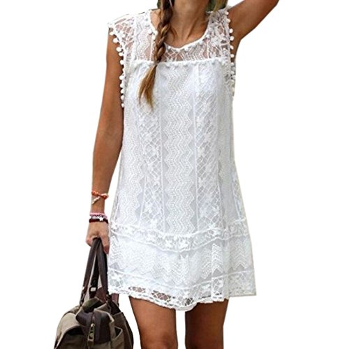 Dewapparel Sommer weisse Minikleid Frauen Spitze Kleid Beilaeufiges Sleeveless Partei Kleid (XXXXXL, weiß)