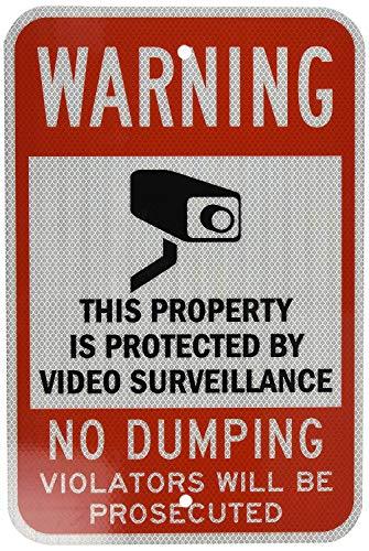 529 Legend Attenzione: Video Surveillance No Dumping with Graphic, nero/rosso su bianco cartello stradale 30,5 cm x 45,5 cm in alluminio metallo latta segno