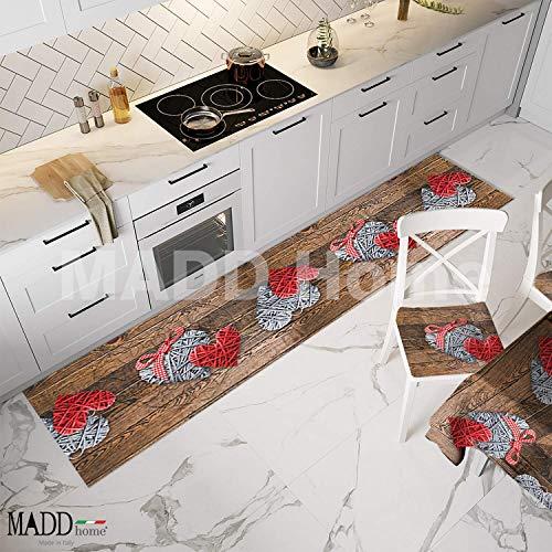 MADD home Tappeto passatoia Cucina Antiscivolo Antimacchia Lavabile lavatrice gommato stampa digitale 100% Made in Italy (SHABBY, 52cm X 280cm)