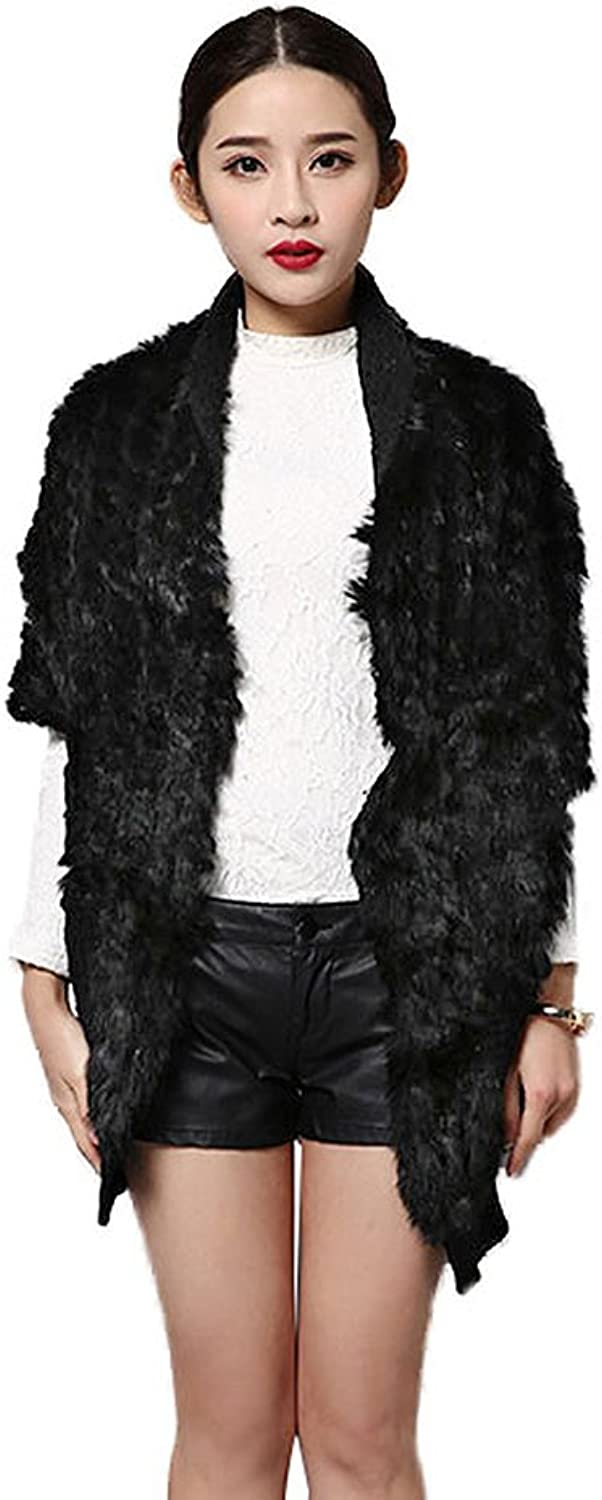Fur Story Women's Knitted Long Fur Vest with Real Rabbit Fur Thick Warm Vest Single Breasted Short Sleeve V Neck