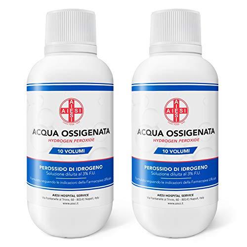 AIESI® Agua Oxigenada desinfectante Ph.Eur. 3% 10 volúmenes con tapa de seguridad para niños 250 ml (Paquete de 2 piezas) # Made in Italy