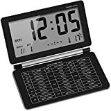 XYLXJ Mini sveglia digitale da viaggio pieghevole silenziosa con calendario di temperatura, ripetizione della settimana, schermo digitale snooze (nero)