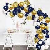 Micacorn Globos de Cumpleaños,109 Piezas Arco para Globos Globo de Confeti de Oro Blanco Azul para Fiestas, Bodas, Propuestas, Reuniones y Otras Celebraciones