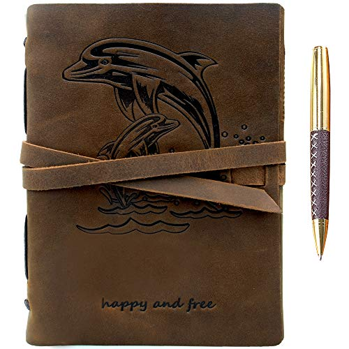 """Leather Journal Dolphin Notebook Embossed Handmade Travel Diary 