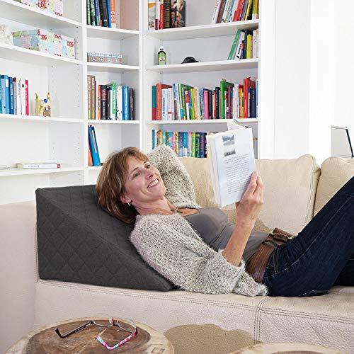 La Almohada Tipo Cuña Fantástica - para Su Sala De Estar o Su Recamara, Almohada para Leer con Un Sentado Relajado Diseño De Moda (Antracita)