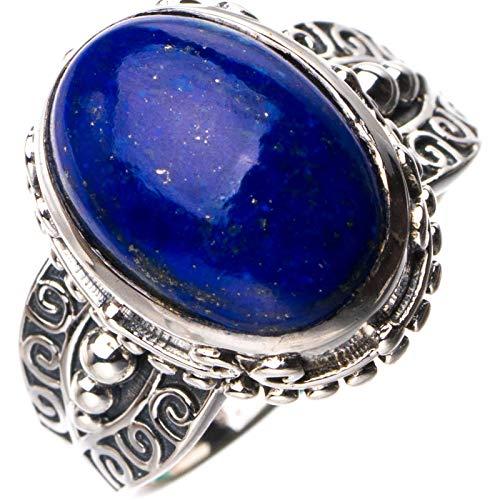 StarGems Anillo de plata de ley 925 de lapislázuli natural hecho a mano N 1/2 D8308