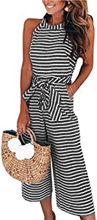 PRETTYGARDEN 2019 Women's Striped Sleeveless Waist Belted...