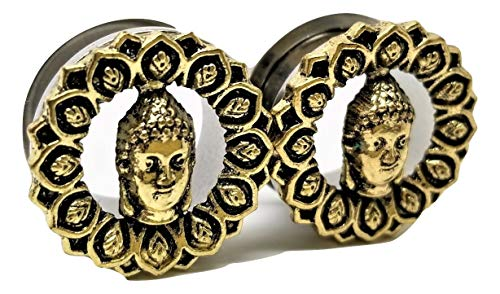 Stainless Steel Buddha Head Ear Plugs - Screw-On Gauges - 7 Sizes - Pair - New! (0 Gauge (8mm))
