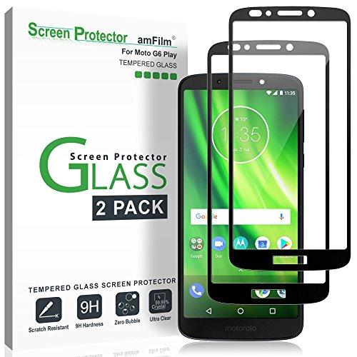 amFilm Vetro Temperato Pellicola Protettiva per Moto G6 Play (2 Pezzi), Copertura Totale Protezione Schermo per Motorola Moto G6 Play (Nero)
