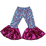 Baby Girls Mermaid Leggings Bell Bottoms Pants Ruffle...