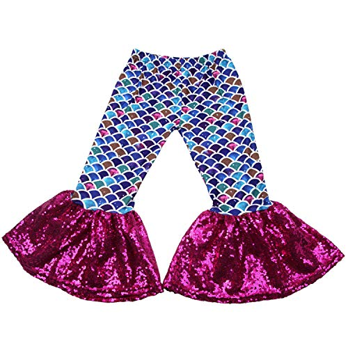 Baby Girls Mermaid Leggings Bell Bottoms Pants Ruffle Sequin Flare Pants for Toddler 2T