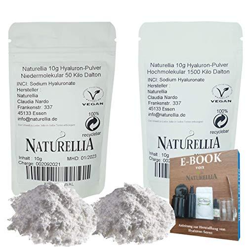 Naturellia 20g Vegan Hyaluronsäure Pulver pur duo hochdosiert 10g Hyaluron Pulver niedermolekular & 10g Hyaluron Pulver hochmolekular für Kosmetik als Serum Creme herstellung geeignet