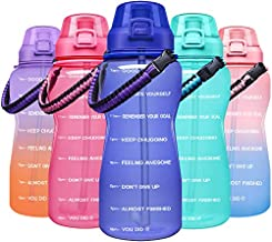 Giotto Large Half Gallon/64OZ Motivational Water Bottle with Paracord Handle & Removable Straw - Leakproof Tritan BPA Free Fitness Sports Water Jug with Time Marker-Purple