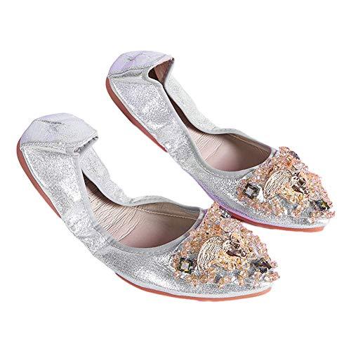 Zapatos Bailarina para Mujer Ptalos Zapatos Planos Suela de Goma Suave Respirable Antideslizante Estilo Medieval Cucharada Puntiaguda Bombas Planas para Noche/Boda/Formal/Informal Plateado EU 38