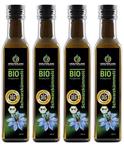 Kräuterland - Bio Schwarzkümmelöl 1000ml (4x250ml) - 100% rein, gefiltert, schonend kaltgepresst, ägyptisch, vegan - Frischegarantie: täglich mühlenfrisch direkt vom Hersteller