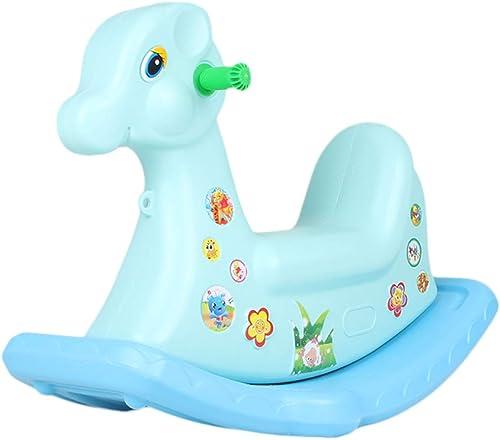 HUXIUPING Schaukelpferd Kunststoff Indoor Kinderspielzeug M er Und Frauen Musik Schaukelpferd Schaukelstuhl Baby 1-2-3 Einjahresgeschenk (Farbe   Blau)