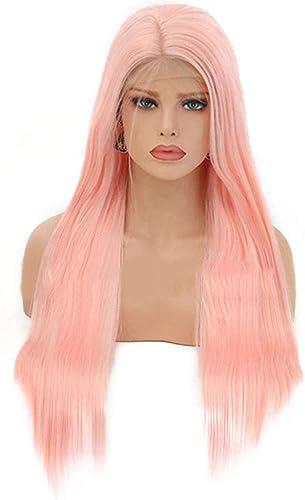 KERVINFENDRIYUN YY4 Europ che und amerikanische Damen Harajuku-Rosa Lange gerade Haarperücke vordere Spitze Chemiefaserhaarperücke (Farbe   Rosa, Größe   26 inches)