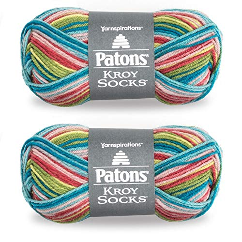 Patons Kroy Socks Yarn, 2-Pack, Meadow Stripes