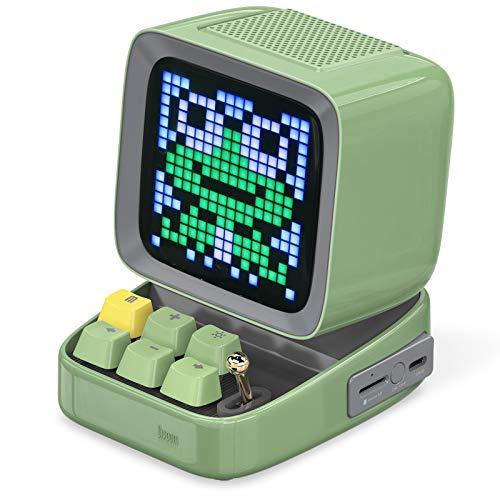 Divoom Ditoo Pixel Art Altavoz Bluetooth Multifuncional, Altavoz portátil Retro con Pantalla LED RGB, Teclado mecánico, Reloj Despertador Inteligente, Compatible con Tarjeta TF y Radio Green