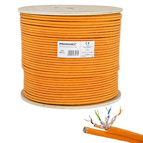 PremiumX 250m CAT 7 Netzwerkkabel Duplex LAN-Kabel Ethernet Datenkabel S/FTP PiMF PoE Eca Cat7 Verlegekabel Installationskabel Cat.7
