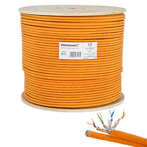 PremiumX 250m CAT 7 Netzwerkkabel Duplex LAN-Kabel Ethernet Datenkabel S/FTP PiMF Eca Verlegekabel Installationskabel Cat.7