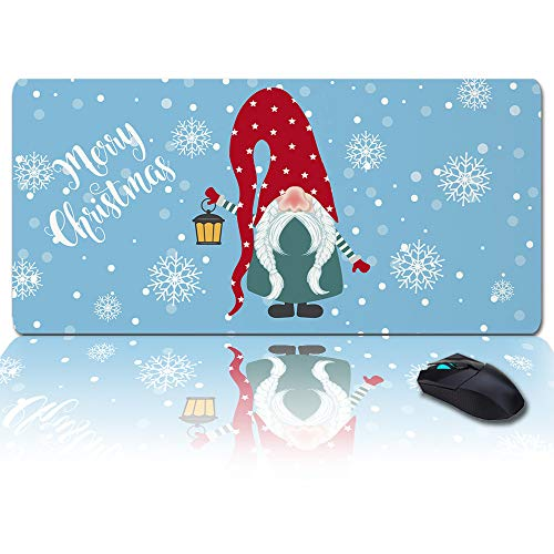 Extra Large Extended Gaming Mouse Pad(35x15 in), Merry Christmas Santa Claus Dwarf Snowflake Holiday Decor Mousepad, Long Non-Slip Rubber Base, XXL Large Keyboard Desk Mat for Desktop/Office