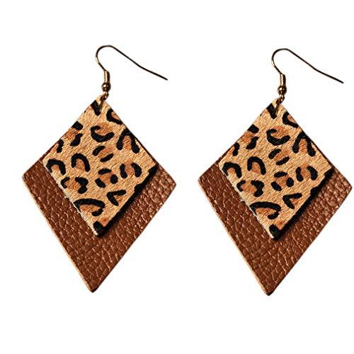 YAZILIND Double Layer Leder Ohrringe Raute Form Ohrringe Winter Tropfen Baumeln Leopardenmuster Ohr für Frauen Mädchen Kaffee + Gelb