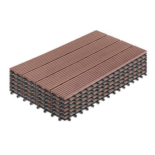 LARS360 6 unidades de baldosas de WPC, color marrón, para terraza, balcón, suelo con sistema de clic y drenaje, de plástico, para terrazas, balcón, jardín, tamaño 60 x 30 cm, aprox. 1 m²