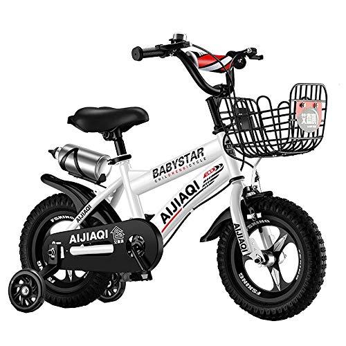HUAQINEI Bicicletas para niños Bicicleta para niños 12/14 Pulgadas Ciclismo para niños y niñas, Adecuado para niños de 2 a 5 años Rosa, Rojo, Blanco, Negro