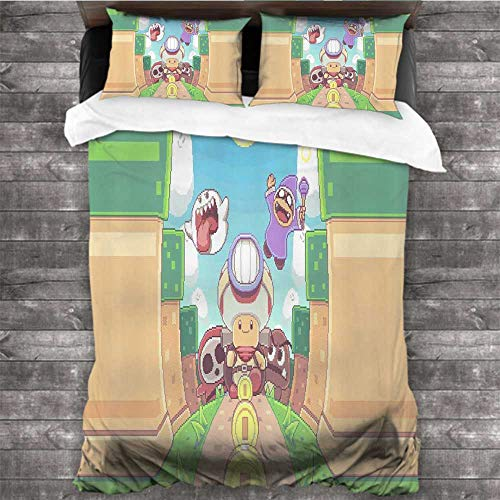 MVNTOO 3-Piece Twin Bed Sheets Set Super Mario Brothers 02 78x78 INCH Wrinkle Fade and Stain Resistant