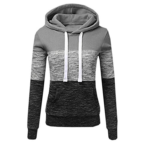 Womens Long Sleeve Pullover Hoodie Striped Color Block Casual Sweatshirts Tops with Pocket (Gray, XL)