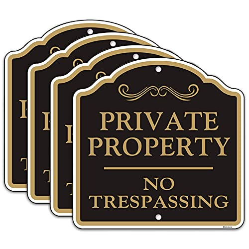 (4 Pack) Private Property No Trespassing Sign, 12x12 Inches Reflective Aluminum Metal Signs, Fade Resistant, Weatherproof, Indoor or Outdoor Use