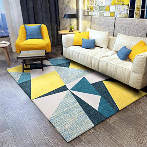 WQ-BBB Alfombra Pelo Corto La Alfombrae alfombras Pasillo diseño Moderno Cuidado fácil Sala Alfombra Costuras geométricas Beige Amarillo Azul alfombras de habitacion 80X160cm