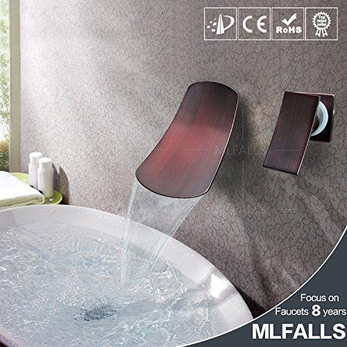 Maifeini Grifo mezclador para lavabo de pared, color negro