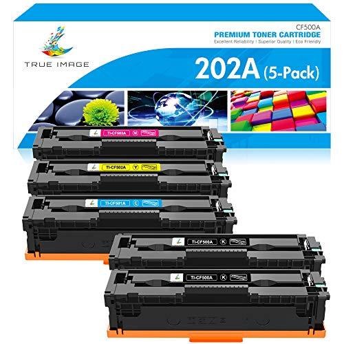 True Image Compatible Toner Cartridge Replacement for HP 202A CF500A 202X HP Laserjet Pro MFP M281fdw M281cdw M254dw M281fdn M254dn M254nw M281 Toner Printer Ink (Black Cyan Yellow Magenta, 5-Pack)