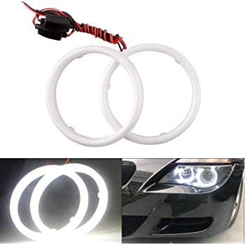 TIDO LED Angle Eyes Halo Ring Light Kit for Auto Motorcycle,COB DRL Halo Ring Angle Eyes with Adaptive Xenon HID Headlight,Xenon White 70mm Pack of 2