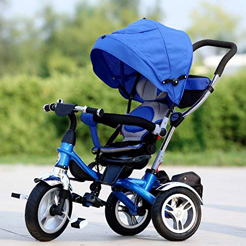 Triciclos 4 en 1 triciclos para niños de 6 meses a 7 años 360 & deg; Sillín giratorio Pleasantly Padded Seat Kids Triciclo Plegable Sol Dosel Manija ajustable Bar Trike para niños Peso máximo 30 K