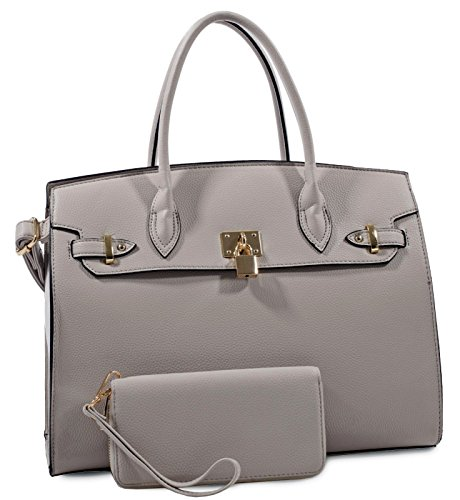 Deluxity Large Padlock Accent Structured Business Satchel +Wallet- Gray