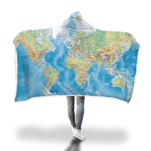 HOSD Decke mit Kapuze Cape Zauberhut Serie von Decken Landkarte 150*200 Mappa Del Mondo