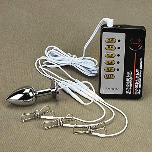 EBXH Electro Shock Masturbación Masajeador, Electroestimulación Metal Anal Plug Vaginal Pezón Clip, Estimularlo A Él Y A Su Anal/Vaginal/Pezón/Pene/Clítoris, Pareja SM Juguetes Sexuales,