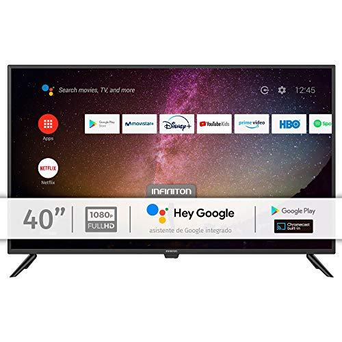"""INFINITON INTV-40AF690 – Televisor Smart TV 40"""" Full HD – Android 9.0 – Google Assistant – HBBTV – 3X HDMI – 2X USB - DVB-T2/C/S2 - Modo Hotel – Clase A+"""