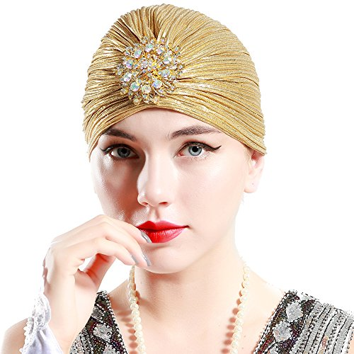BABEYOND Women's Turban Hat with Crystal Vintage Head Wrap Knit Pleated Turban (Gold)