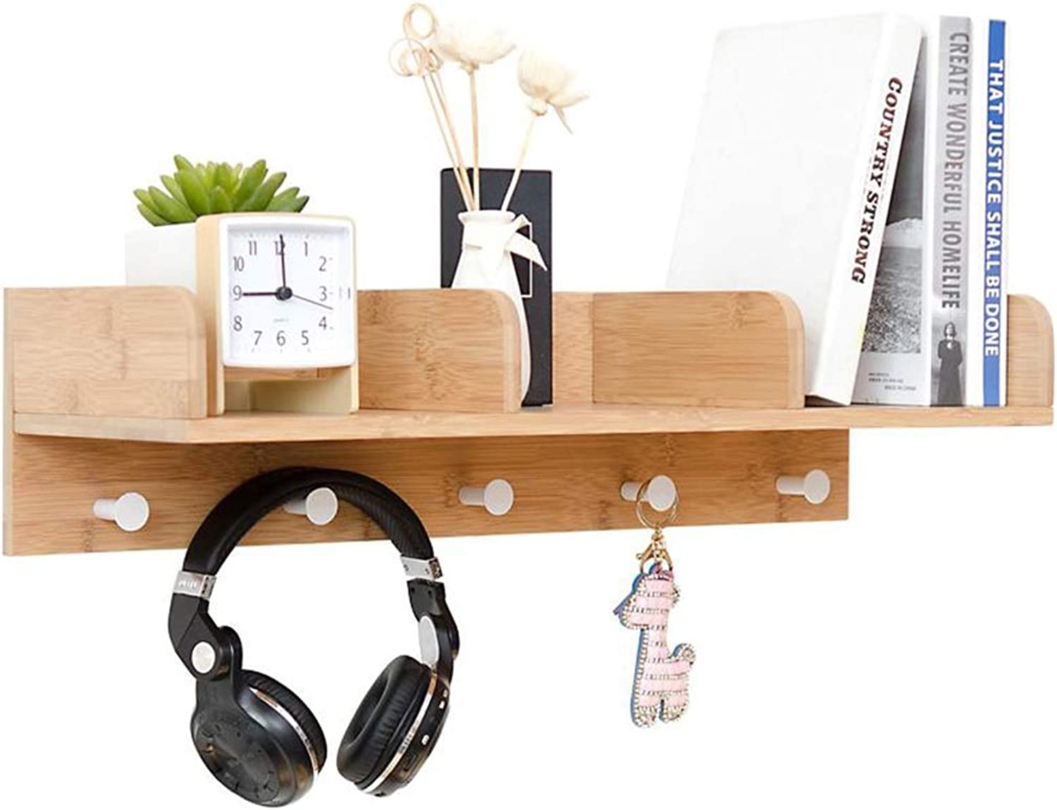 Coat Rack, Wall Display Storage Unit 3 Components 5 Hooks,for Wall Bathroom Kitchen Cupboard (color   Wood color)